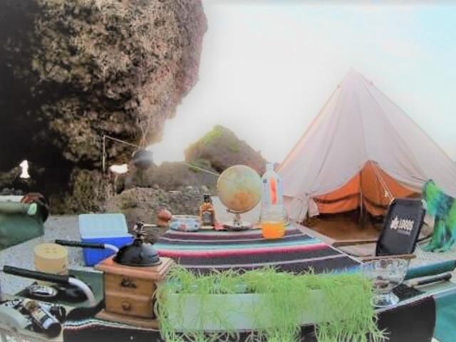海でのキャンプの様子